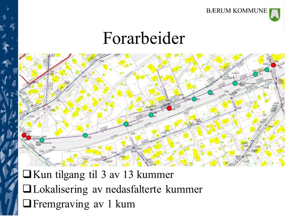  Kun tilgang til 3 av 13 kummer  Lokalisering av nedasfalterte kummer  Fremgraving av 1 kum Forarbeider