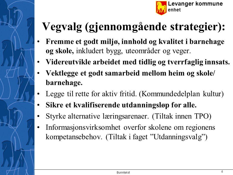 Levanger kommune enhet Vegvalg (gjennomgående strategier): Fremme et godt miljø, innhold og kvalitet i barnehage og skole, inkludert bygg, uteområder