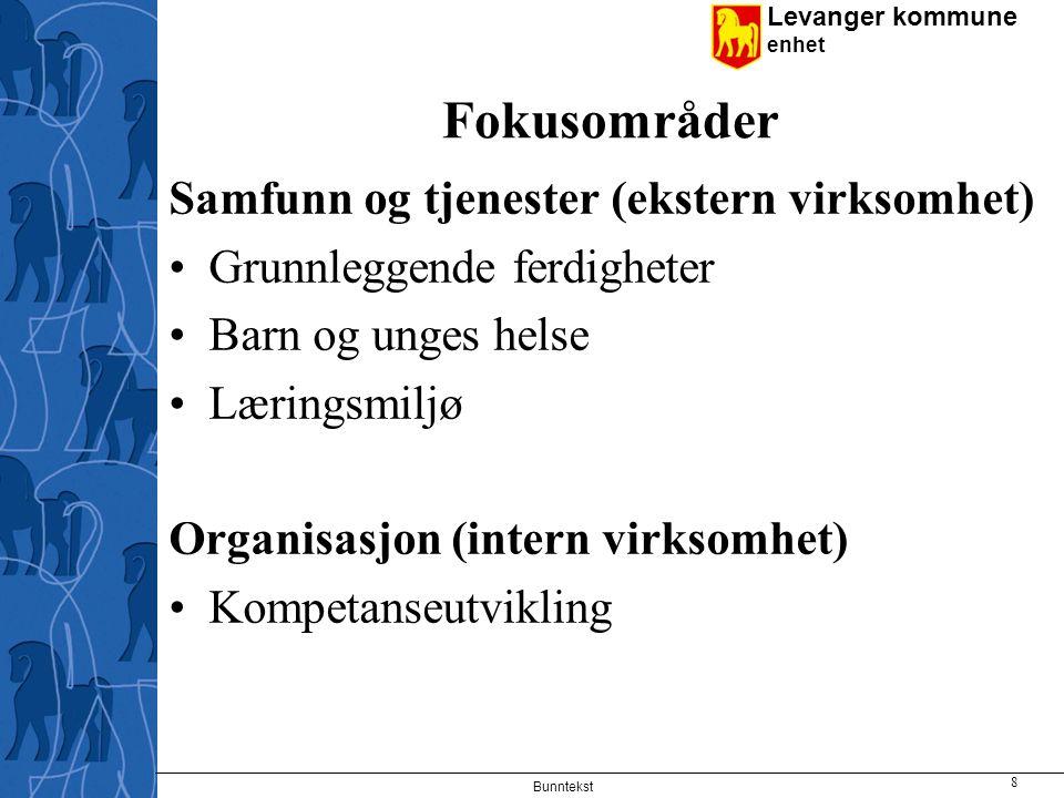 Levanger kommune enhet Fokusområder Samfunn og tjenester (ekstern virksomhet) Grunnleggende ferdigheter Barn og unges helse Læringsmiljø Organisasjon