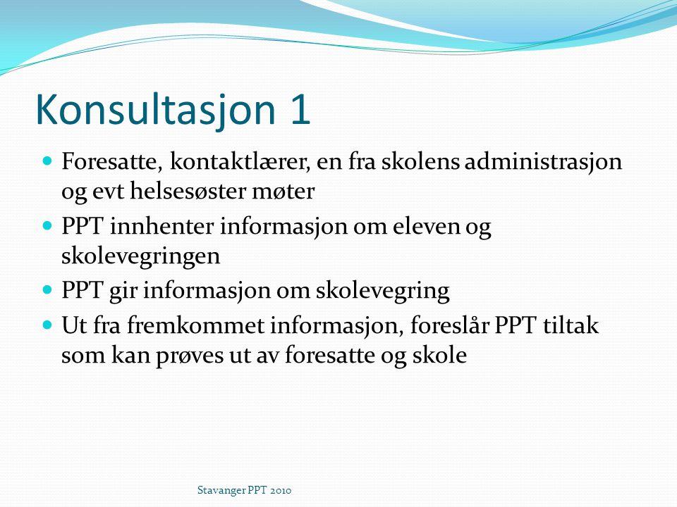 Konsultasjon 1 Foresatte, kontaktlærer, en fra skolens administrasjon og evt helsesøster møter PPT innhenter informasjon om eleven og skolevegringen PPT gir informasjon om skolevegring Ut fra fremkommet informasjon, foreslår PPT tiltak som kan prøves ut av foresatte og skole Stavanger PPT 2010