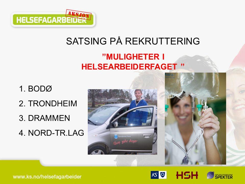 SATSING PÅ REKRUTTERING MULIGHETER I HELSEARBEIDERFAGET 1.BODØ 2.TRONDHEIM 3.DRAMMEN 4.NORD-TR.LAG