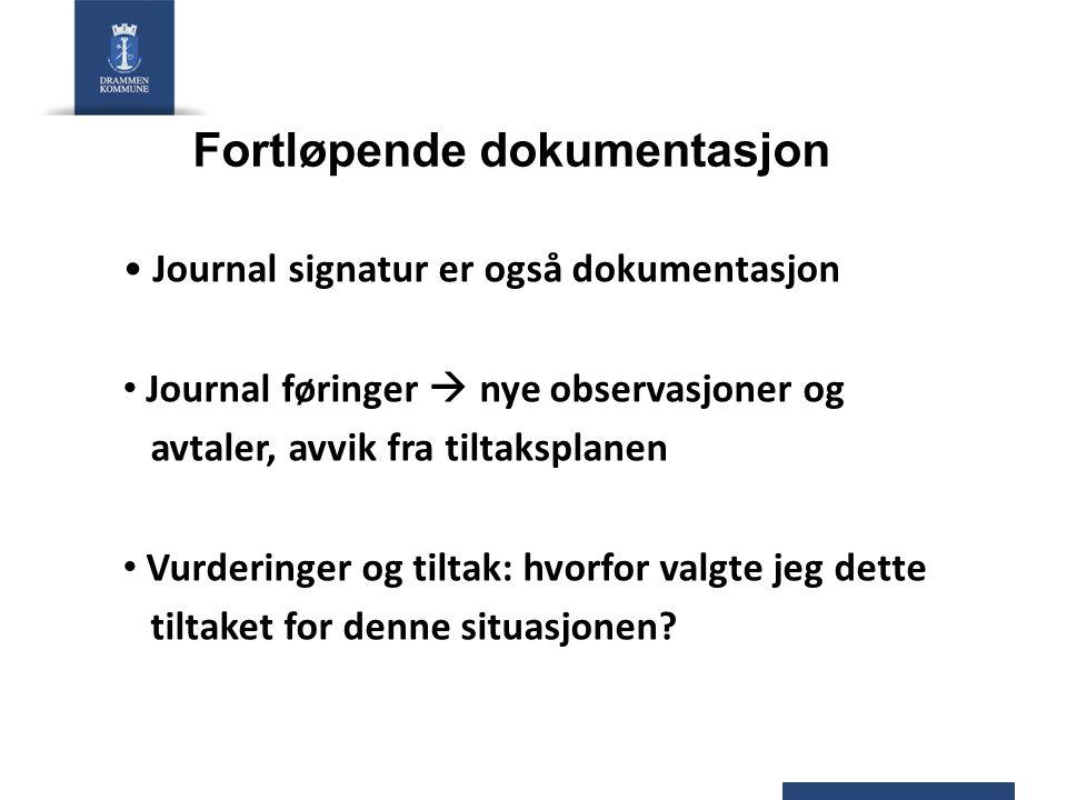 Fortløpende dokumentasjon Journal signatur er også dokumentasjon Journal føringer  nye observasjoner og avtaler, avvik fra tiltaksplanen Vurderinger