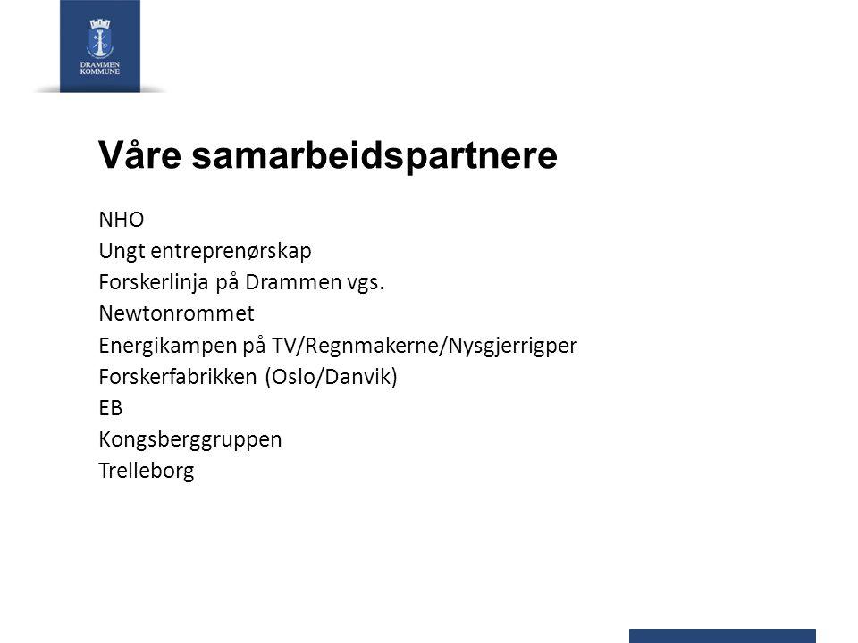 Våre samarbeidspartnere NHO Ungt entreprenørskap Forskerlinja på Drammen vgs. Newtonrommet Energikampen på TV/Regnmakerne/Nysgjerrigper Forskerfabrikk