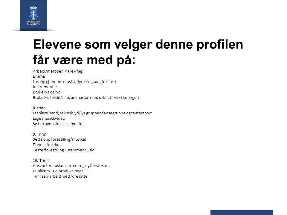 Elevene som velger denne profilen får være med på: Arbeidsmetoder i «alle» fag: Drama Læring gjennom musikk (lyrikk og sangtekster) Instrumenter Bruke
