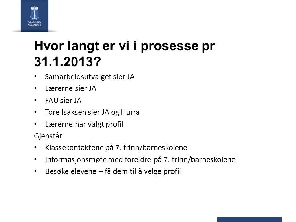 Hvor langt er vi i prosesse pr 31.1.2013? Samarbeidsutvalget sier JA Lærerne sier JA FAU sier JA Tore Isaksen sier JA og Hurra Lærerne har valgt profi