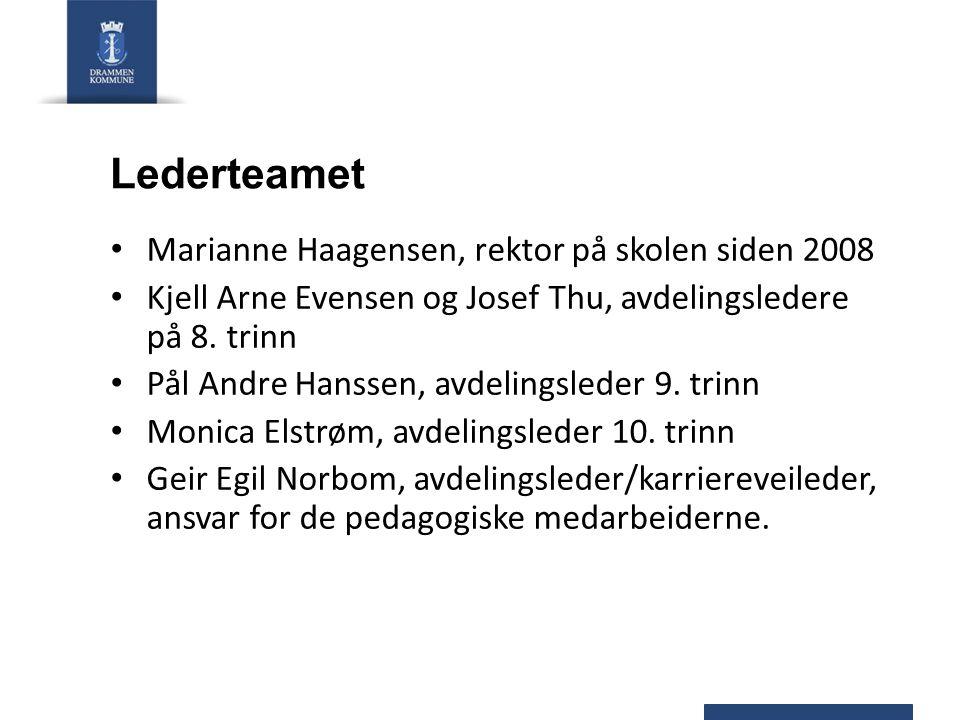Lederteamet Marianne Haagensen, rektor på skolen siden 2008 Kjell Arne Evensen og Josef Thu, avdelingsledere på 8. trinn Pål Andre Hanssen, avdelingsl