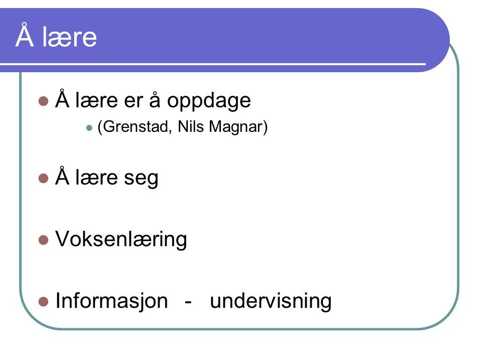 Å lære Å lære er å oppdage (Grenstad, Nils Magnar) Å lære seg Voksenlæring Informasjon - undervisning