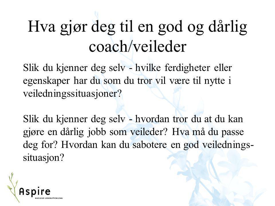 Hva gjør deg til en god og dårlig coach/veileder Slik du kjenner deg selv - hvilke ferdigheter eller egenskaper har du som du tror vil være til nytte