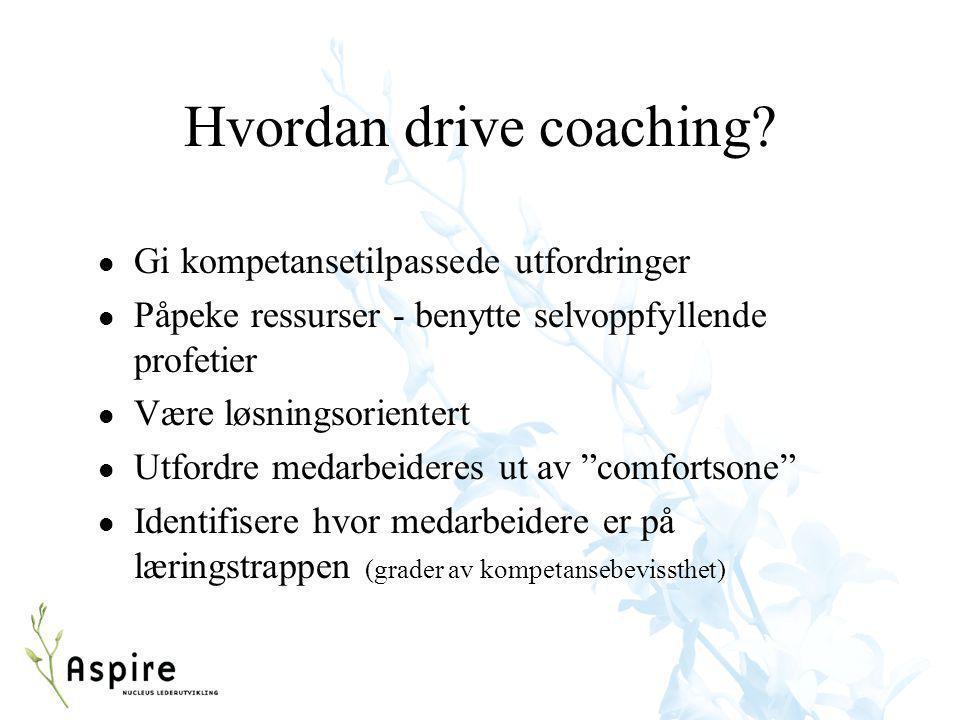 Hvordan drive coaching? l Gi kompetansetilpassede utfordringer l Påpeke ressurser - benytte selvoppfyllende profetier l Være løsningsorientert l Utfor