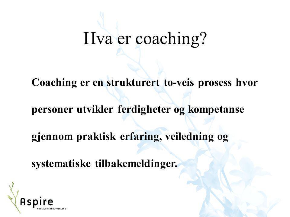 Hva er coaching? Coaching er en strukturert to-veis prosess hvor personer utvikler ferdigheter og kompetanse gjennom praktisk erfaring, veiledning og