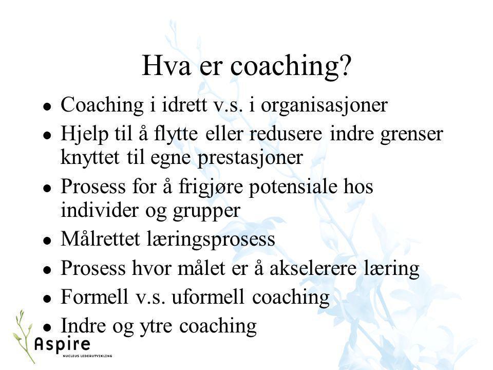 Hva er coaching? l Coaching i idrett v.s. i organisasjoner l Hjelp til å flytte eller redusere indre grenser knyttet til egne prestasjoner l Prosess f