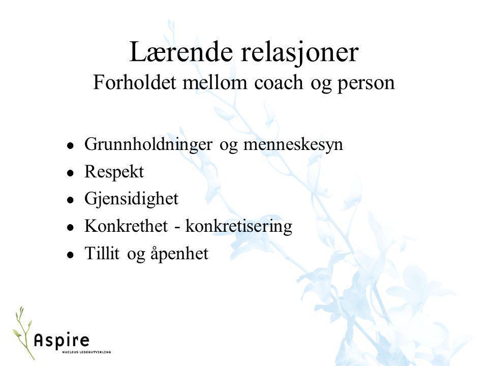Lærende relasjoner Forholdet mellom coach og person l Grunnholdninger og menneskesyn l Respekt l Gjensidighet l Konkrethet - konkretisering l Tillit o