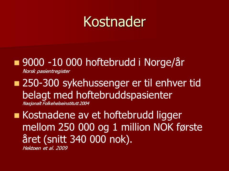 Kostnader 9000 -10 000 hoftebrudd i Norge/år Norsk pasientregister 250-300 sykehussenger er til enhver tid belagt med hoftebruddspasienter Nasjonalt F