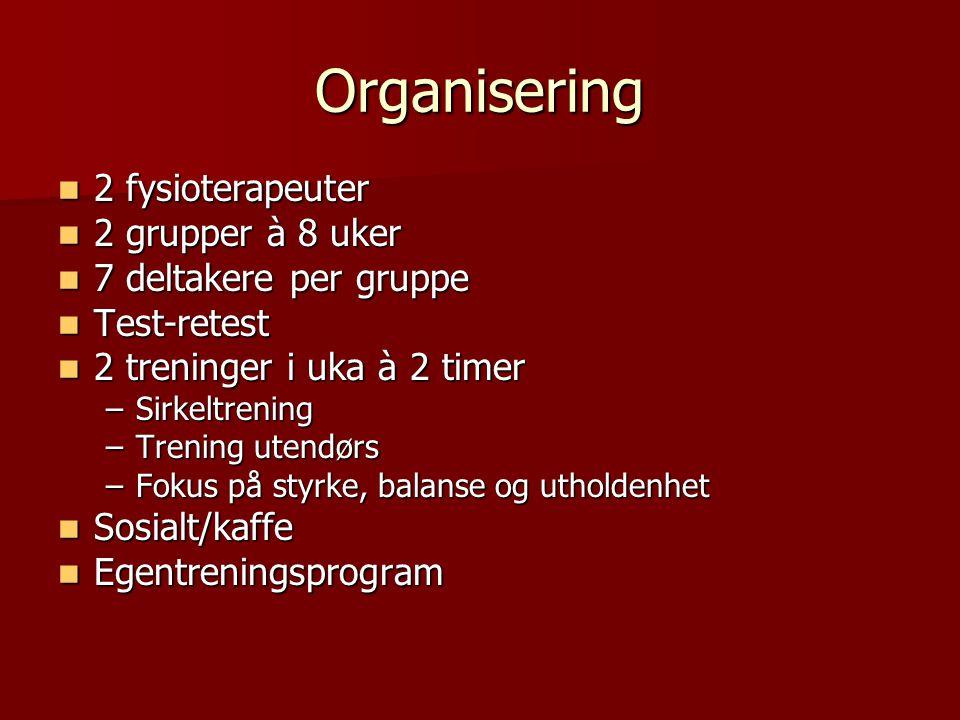 Organisering 2 fysioterapeuter 2 fysioterapeuter 2 grupper à 8 uker 2 grupper à 8 uker 7 deltakere per gruppe 7 deltakere per gruppe Test-retest Test-