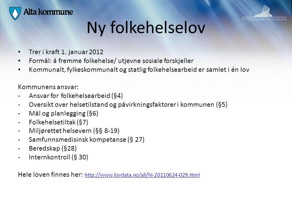 Ny folkehelselov Trer i kraft 1. januar 2012 Formål: å fremme folkehelse/ utjevne sosiale forskjeller Kommunalt, fylkeskommunalt og statlig folkehelse
