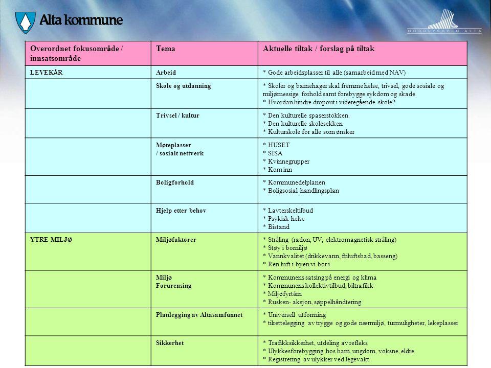 Overordnet fokusomr å de / innsatsomr å de Tema Aktuelle tiltak / forslag p å tiltak LEVEK Å R Arbeid* Gode arbeidsplasser til alle (samarbeid med NAV