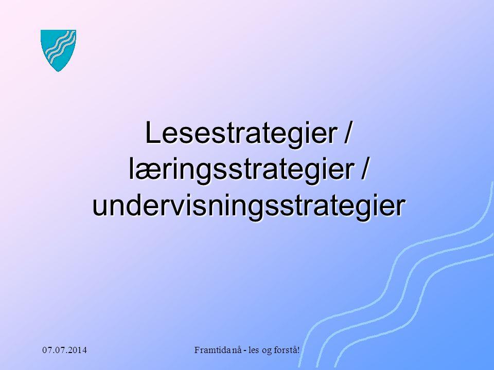 07.07.2014Framtida nå - les og forstå! Lesestrategier / læringsstrategier / undervisningsstrategier