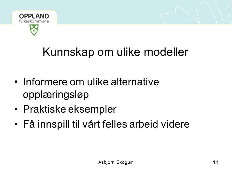 Kunnskap om ulike modeller Informere om ulike alternative opplæringsløp Praktiske eksempler Få innspill til vårt felles arbeid videre 14Asbjørn Skogum
