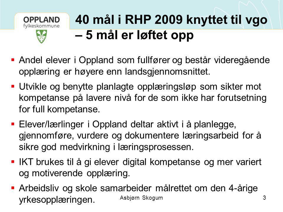 40 mål i RHP 2009 knyttet til vgo – 5 mål er løftet opp  Andel elever i Oppland som fullfører og består videregående opplæring er høyere enn landsgjennomsnittet.