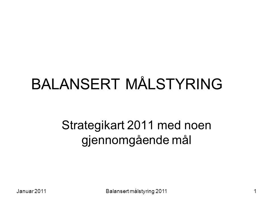 Strategikart Valg av perspektiver Visjoner og strategi Medarbeider Organisasjon og prosess ØkonomiBrukereSamfunn 2Januar 2011Balansert målstyring 2011