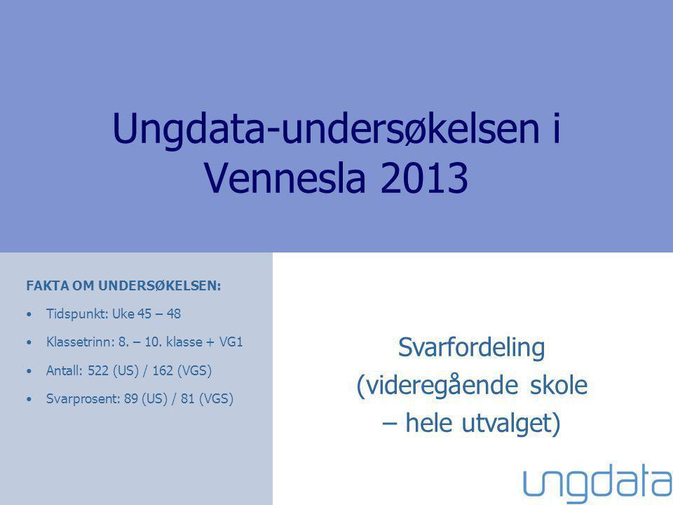Ungdata-undersøkelsen i Vennesla 2013 Svarfordeling (videregående skole – hele utvalget) FAKTA OM UNDERSØKELSEN: Tidspunkt: Uke 45 – 48 Klassetrinn: 8.