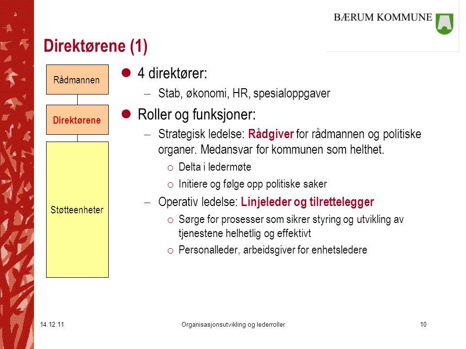14.12.11Organisasjonsutvikling og lederroller10 Direktørene (1) l4 direktører:  Stab, økonomi, HR, spesialoppgaver lRoller og funksjoner:  Strategis