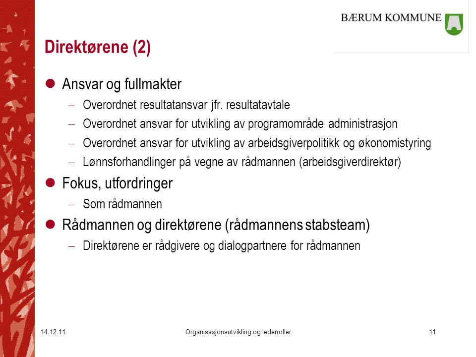 14.12.11Organisasjonsutvikling og lederroller11 Direktørene (2) lAnsvar og fullmakter  Overordnet resultatansvar jfr. resultatavtale  Overordnet ans