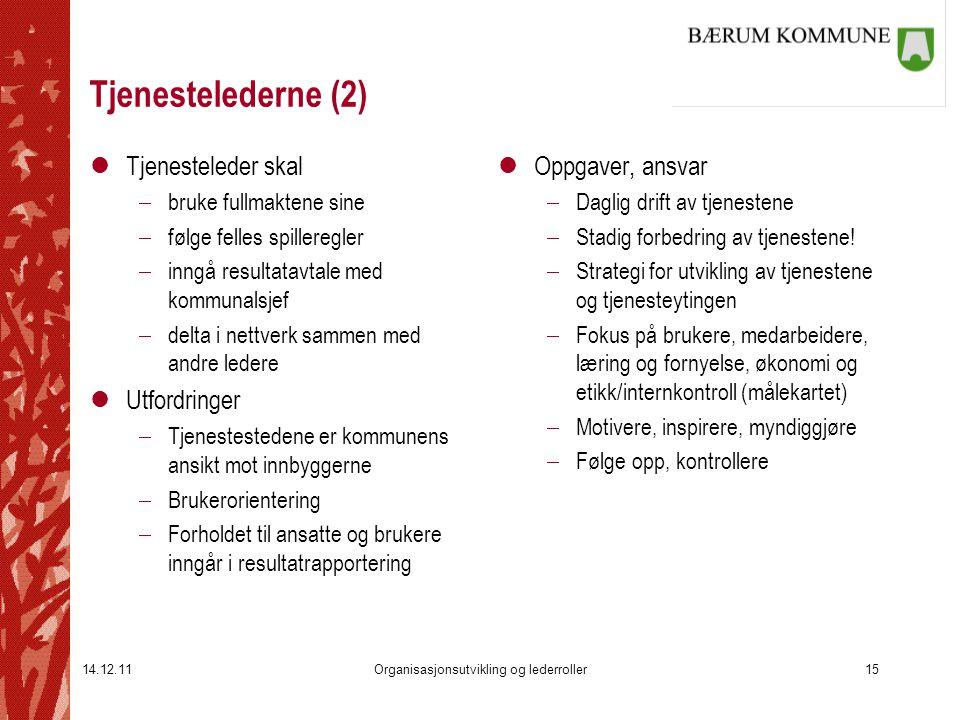 14.12.11Organisasjonsutvikling og lederroller15 Tjenestelederne (2) lTjenesteleder skal  bruke fullmaktene sine  følge felles spilleregler  inngå r