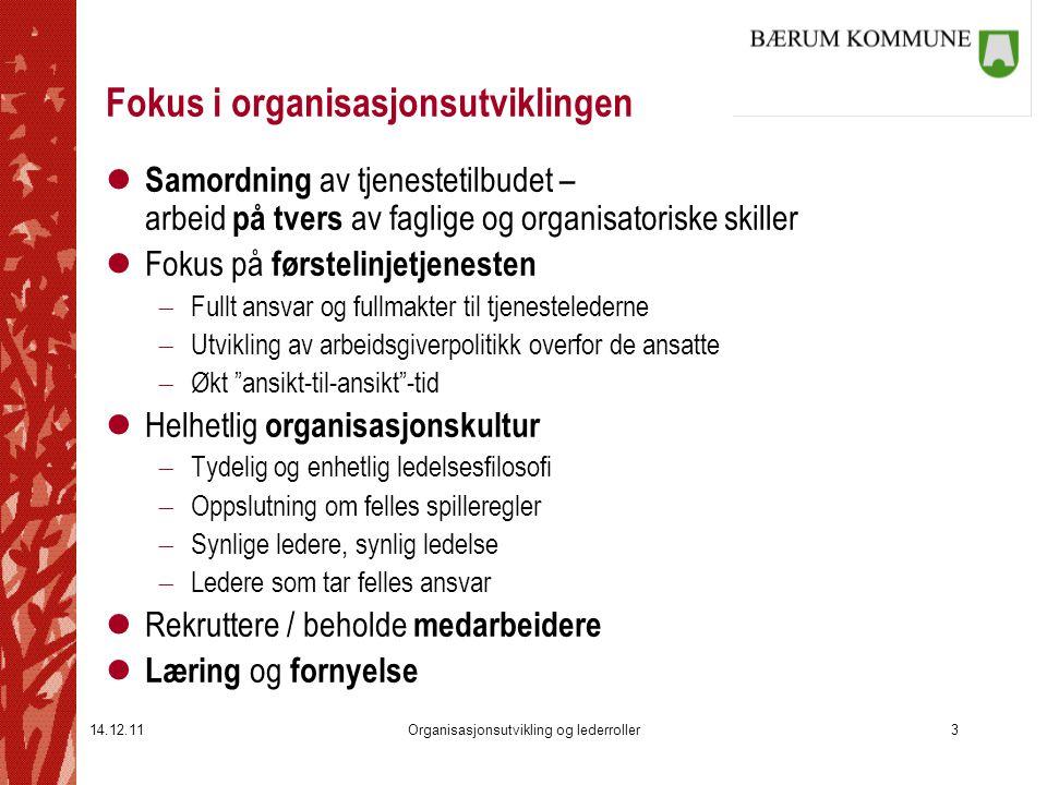 14.12.11Organisasjonsutvikling og lederroller3 Fokus i organisasjonsutviklingen l Samordning av tjenestetilbudet – arbeid på tvers av faglige og organ
