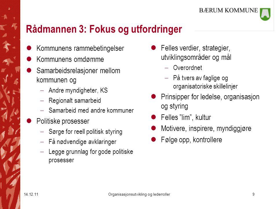 14.12.11Organisasjonsutvikling og lederroller9 Rådmannen 3: Fokus og utfordringer lKommunens rammebetingelser lKommunens omdømme lSamarbeidsrelasjoner