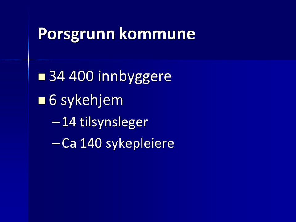 Porsgrunn kommune 34 400 innbyggere 34 400 innbyggere 6 sykehjem 6 sykehjem –14 tilsynsleger –Ca 140 sykepleiere