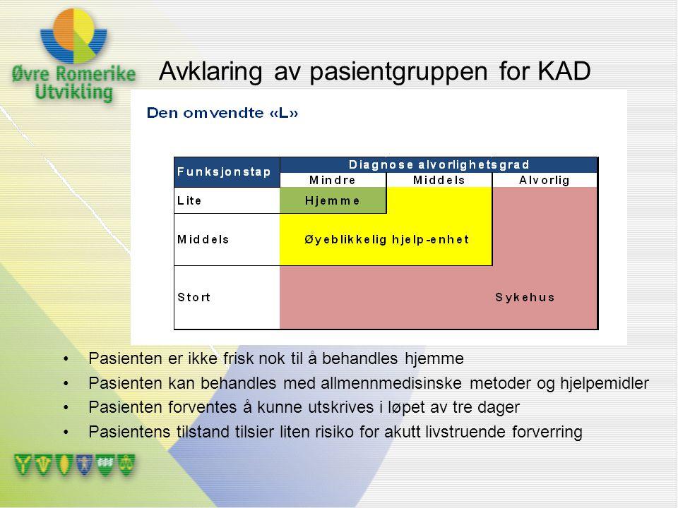 Avklaring av pasientgruppen for KAD Pasienten er ikke frisk nok til å behandles hjemme Pasienten kan behandles med allmennmedisinske metoder og hjelpe