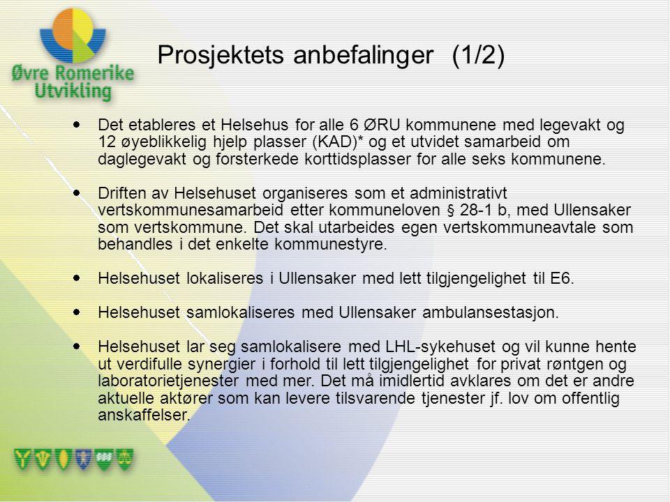  Det etableres et Helsehus for alle 6 ØRU kommunene med legevakt og 12 øyeblikkelig hjelp plasser (KAD)* og et utvidet samarbeid om daglegevakt og fo