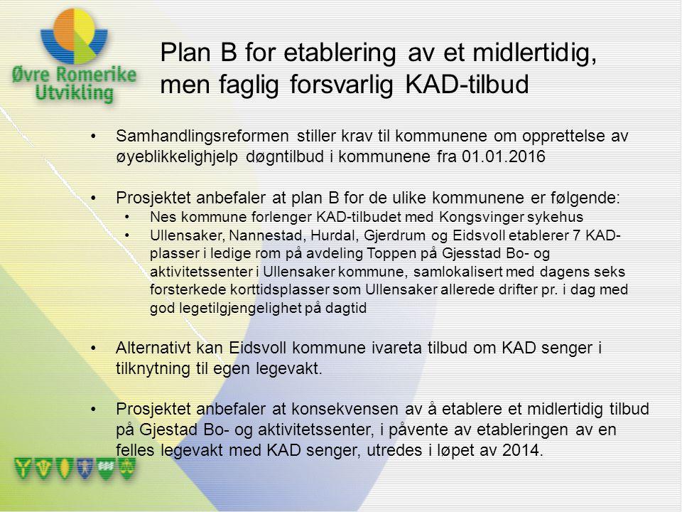 Samhandlingsreformen stiller krav til kommunene om opprettelse av øyeblikkelighjelp døgntilbud i kommunene fra 01.01.2016 Prosjektet anbefaler at plan