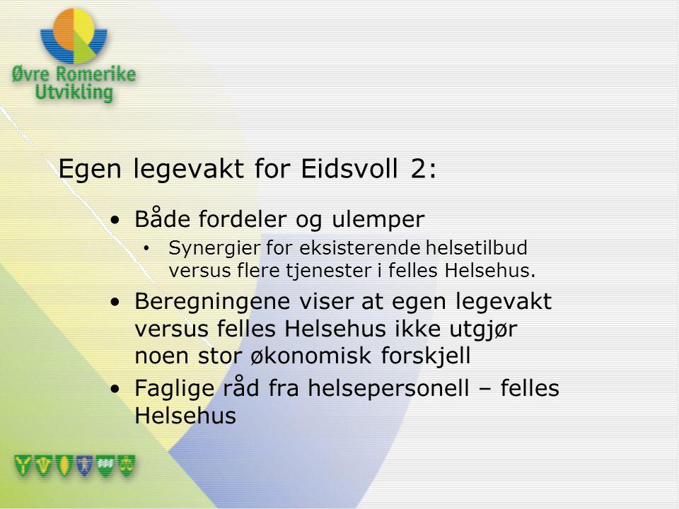 Egen legevakt for Eidsvoll 2: Både fordeler og ulemper Synergier for eksisterende helsetilbud versus flere tjenester i felles Helsehus. Beregningene v