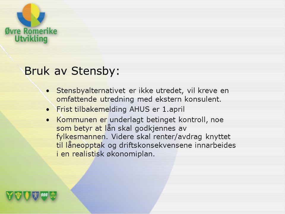 Bruk av Stensby: Stensbyalternativet er ikke utredet, vil kreve en omfattende utredning med ekstern konsulent. Frist tilbakemelding AHUS er 1.april Ko