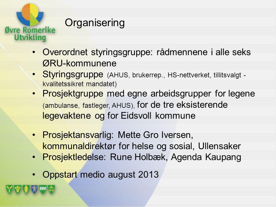 Overordnet styringsgruppe: rådmennene i alle seks ØRU-kommunene Styringsgruppe (AHUS, brukerrep., HS-nettverket, tillitsvalgt - kvalitetssikret mandat