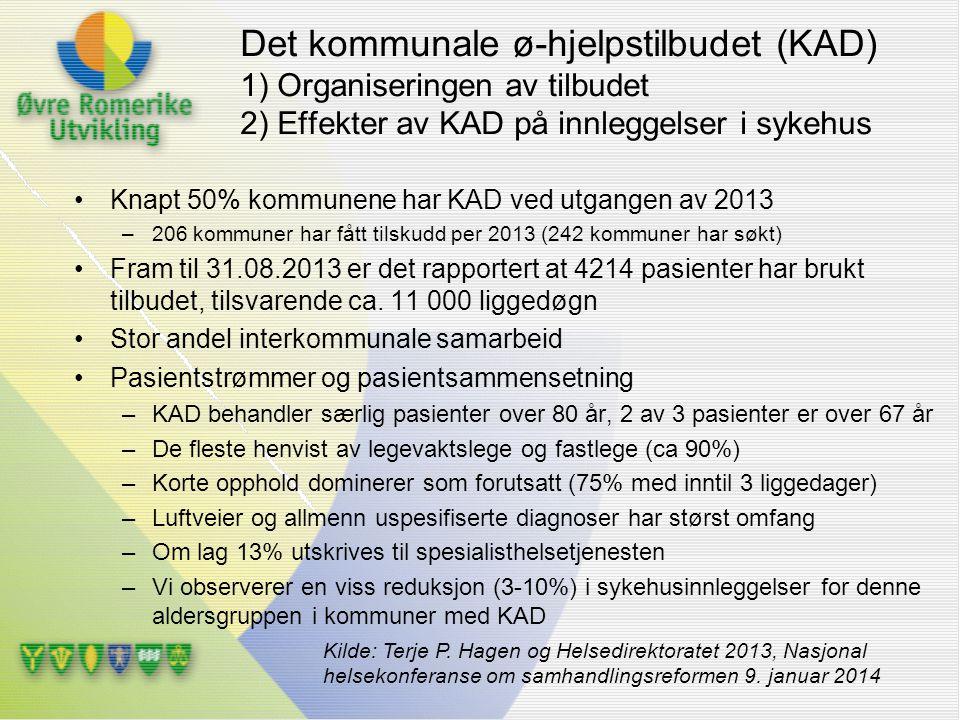 Det kommunale ø-hjelpstilbudet (KAD) 1) Organiseringen av tilbudet 2) Effekter av KAD på innleggelser i sykehus Knapt 50% kommunene har KAD ved utgang