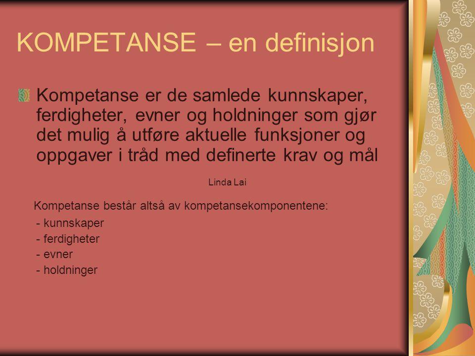 KOMPETANSE – en definisjon Kompetanse er de samlede kunnskaper, ferdigheter, evner og holdninger som gjør det mulig å utføre aktuelle funksjoner og op