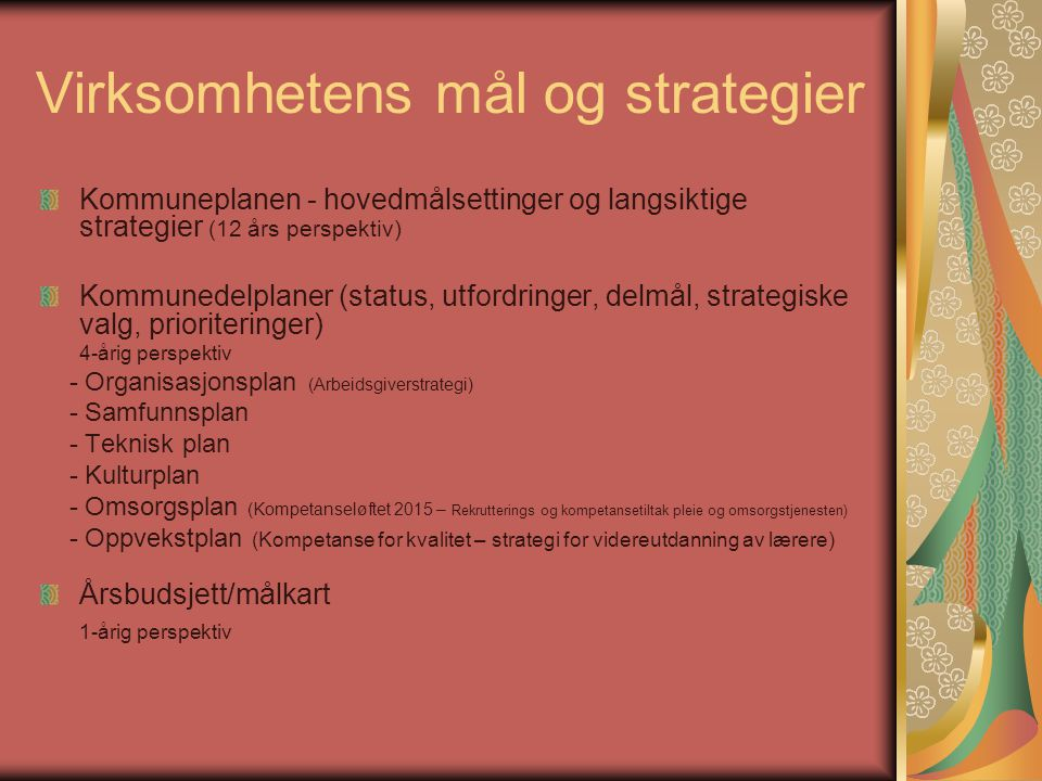 Virksomhetens mål og strategier Kommuneplanen - hovedmålsettinger og langsiktige strategier (12 års perspektiv) Kommunedelplaner (status, utfordringer