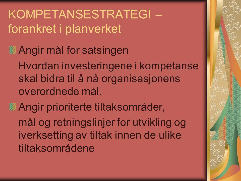 KOMPETANSESTRATEGI – forankret i planverket Angir mål for satsingen Hvordan investeringene i kompetanse skal bidra til å nå organisasjonens overordned