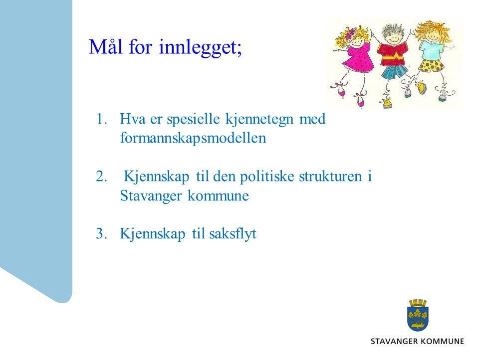 Mål for innlegget; 1.Hva er spesielle kjennetegn med formannskapsmodellen 2. Kjennskap til den politiske strukturen i Stavanger kommune 3.Kjennskap ti