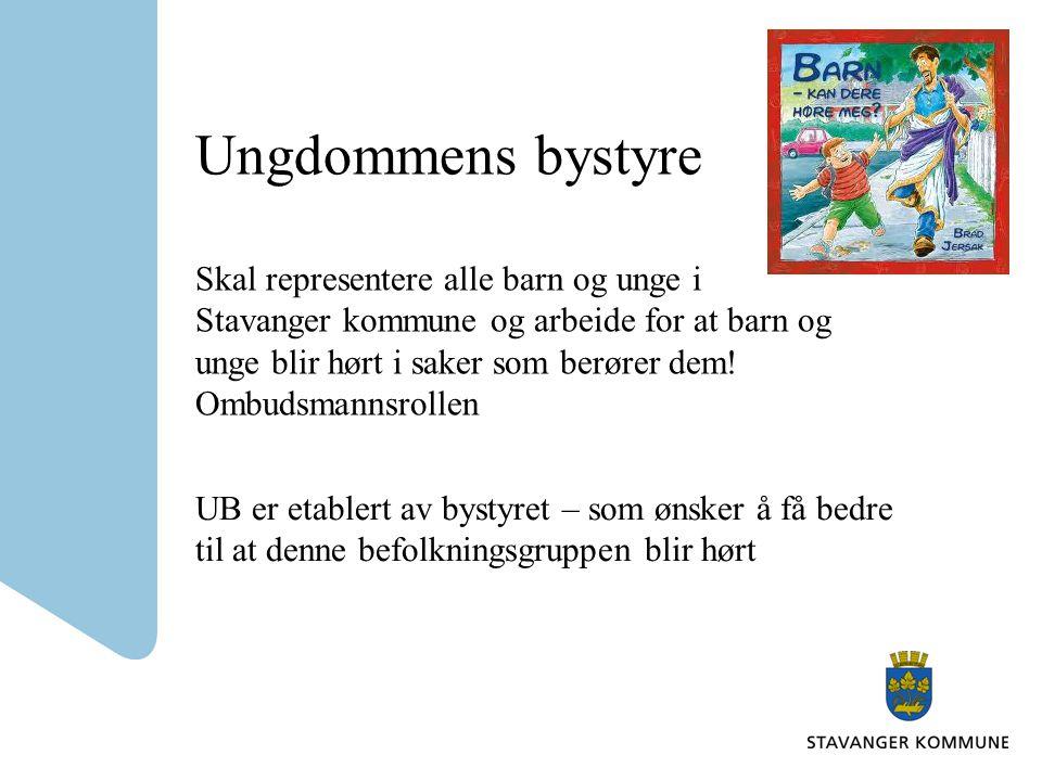 Ungdommens bystyre Skal representere alle barn og unge i Stavanger kommune og arbeide for at barn og unge blir hørt i saker som berører dem! Ombudsman