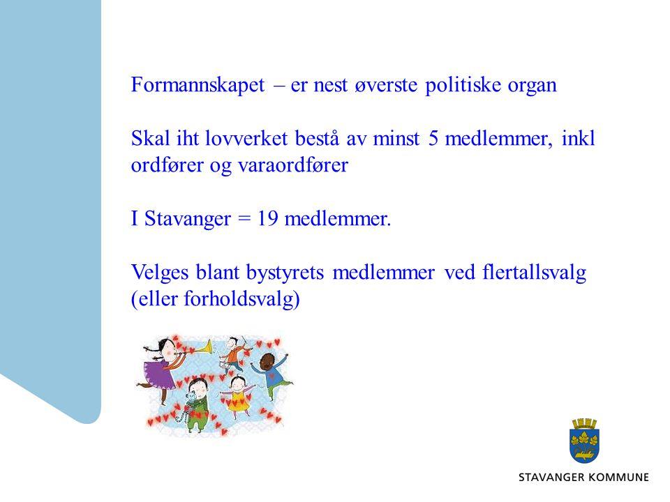Formannskapet – er nest øverste politiske organ Skal iht lovverket bestå av minst 5 medlemmer, inkl ordfører og varaordfører I Stavanger = 19 medlemme