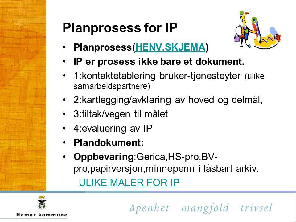 Planprosess for IP Planprosess(HENV.SKJEMA)HENV.SKJEMA IP er prosess ikke bare et dokument. 1:kontaktetablering bruker-tjenesteyter (ulike samarbeidsp
