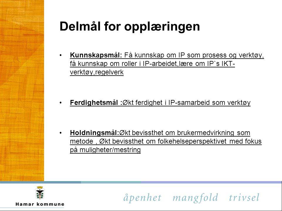 Delmål for opplæringen Kunnskapsmål: Få kunnskap om IP som prosess og verktøy, få kunnskap om roller i IP-arbeidet,lære om IP`s IKT- verktøy,regelverk