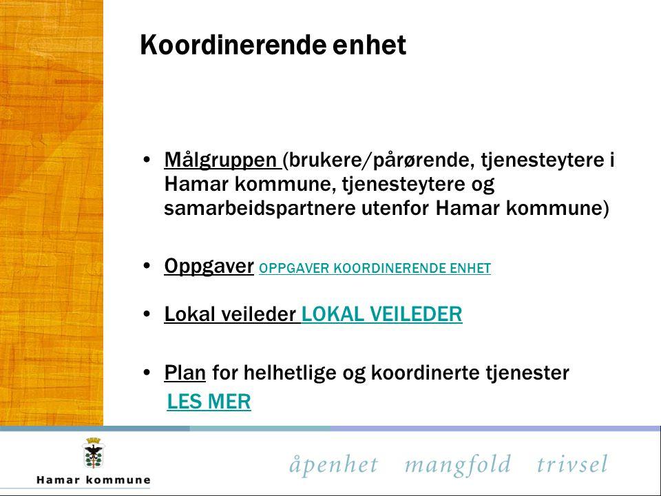 Koordinerende enhet Målgruppen (brukere/pårørende, tjenesteytere i Hamar kommune, tjenesteytere og samarbeidspartnere utenfor Hamar kommune) Oppgaver