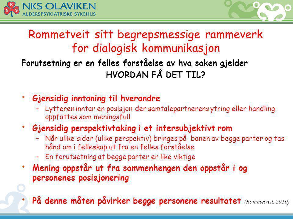Rommetveit sitt begrepsmessige rammeverk for dialogisk kommunikasjon Forutsetning er en felles forståelse av hva saken gjelder HVORDAN FÅ DET TIL? Gje
