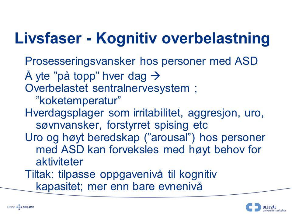 """Livsfaser - Kognitiv overbelastning Prosesseringsvansker hos personer med ASD Å yte """"på topp"""" hver dag  Overbelastet sentralnervesystem ; """"koketemper"""