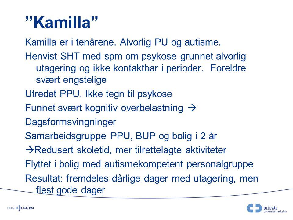 """""""Kamilla"""" Kamilla er i tenårene. Alvorlig PU og autisme. Henvist SHT med spm om psykose grunnet alvorlig utagering og ikke kontaktbar i perioder. Fore"""